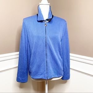 St. John blue zip front collared cardigan Q0532
